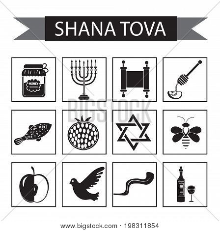 Set icons on the Jewish new year, black silhouette icon, Rosh Hashanah, Shana Tova. Cartoon icons flat style. Traditional symbols of Jewish culture. Vector illustration