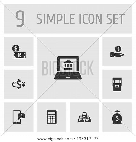 Collection Of Online Banking, Ingot, Terminal And Other Elements.  Set Of 9 Finance Icons Set.
