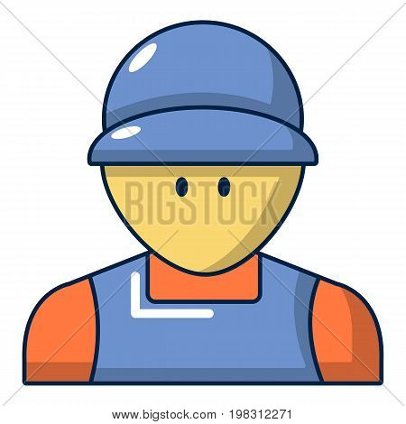 Plumber man face icon. Cartoon illustration of plumber man face vector icon for web design