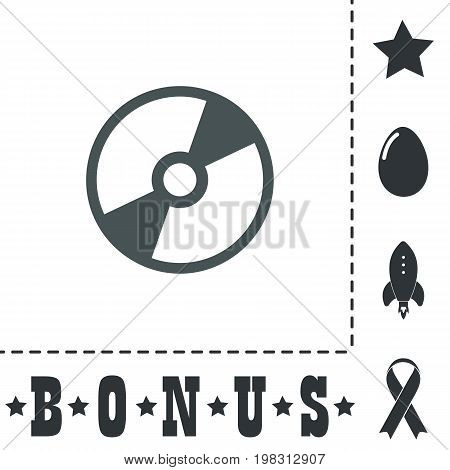 CD or DVD. Simple flat symbol icon on white background. Vector illustration pictogram and bonus icons