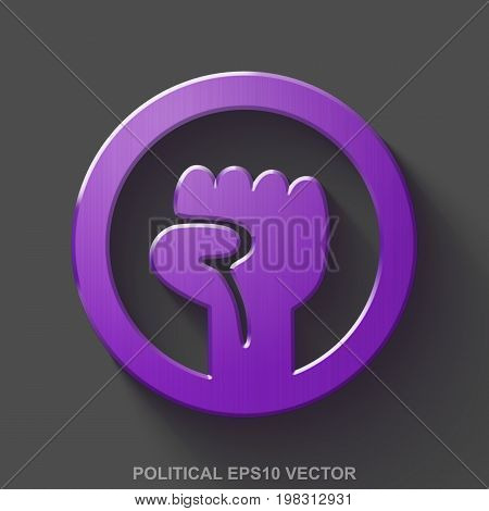 Flat metallic politics 3D icon. Purple Glossy Metal Uprising icon with transparent shadow on Gray background. EPS 10, vector illustration.