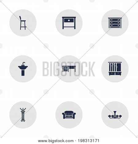 Collection Of Chair, Coat Stand, Commode Elements.  Set Of 9 Decor Icons Set.