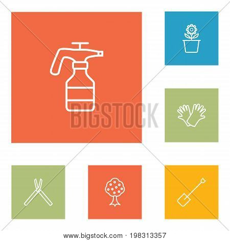 Collection Of Spade, Garden, Safer Of Hand Elements.  Set Of 6 Horticulture Outline Icons Set.