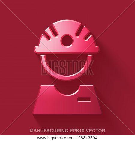 Flat metallic Industry 3D icon. Red Glossy Metal Factory Worker icon with transparent shadow on Red background. EPS 10, vector illustration.