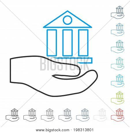 Bank Service contour icon. Vector illustration style is a flat iconic contour symbol in some color versions.