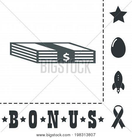 Bundle of Dollars. Simple flat symbol icon on white background. Vector illustration pictogram and bonus icons
