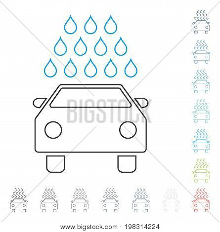 Car Wash line icon. Vector illustration style is a flat iconic contour symbol in some color versions.