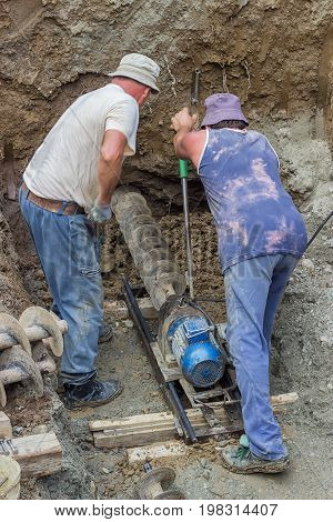 Drilling Under Street For Sewer Pipes