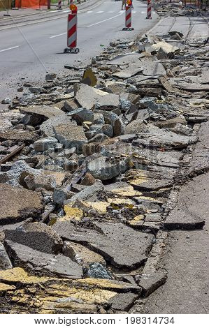Heap Of Broken Asphalt On Road Surface