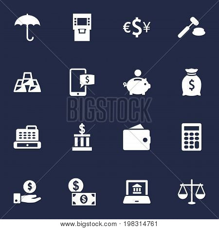 Collection Of Electron Report, Ingot, Balance And Other Elements.  Set Of 16 Finance Icons Set.