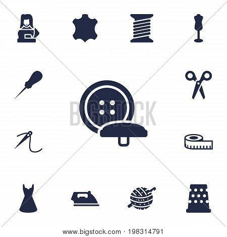 Collection Of Seamstress, Bodkin, Mannequin And Other Elements.  Set Of 13 Stitch Icons Set.