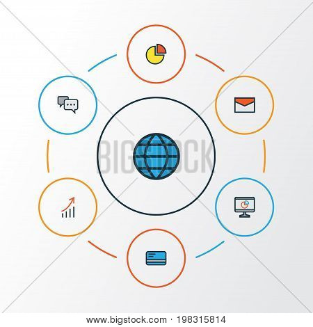 Job Colorful Outline Icons Set. Collection Of World, Bank Cash, Pie Chart And Other Elements