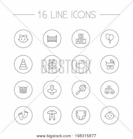 Collection Of Alphabet Cubes, Nipple, Smock And Other Elements.  Set Of 16 Child Outline Icons Set.