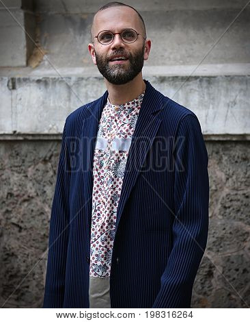 PARIS- 25 June 2017 Angelo Flaccavento on the street during the Paris Fashion Week