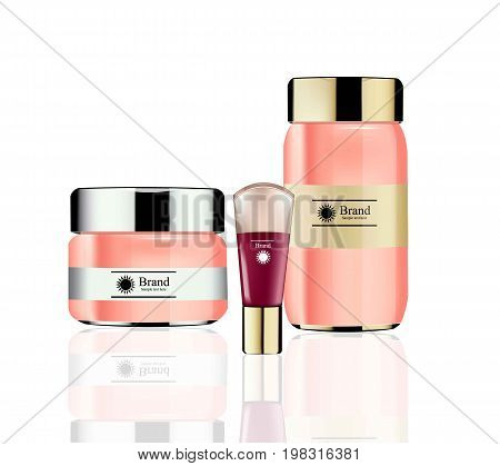 Vector Cosmetics set package. Hydration cream, foundation and lotion. Perfect for advertising, flyer, banner, poster. 3d illustration