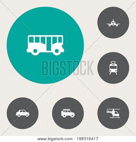 Collection Of Autobus, Streetcar, Copter And Other Elements.  Set Of 6 Transport Icons Set.