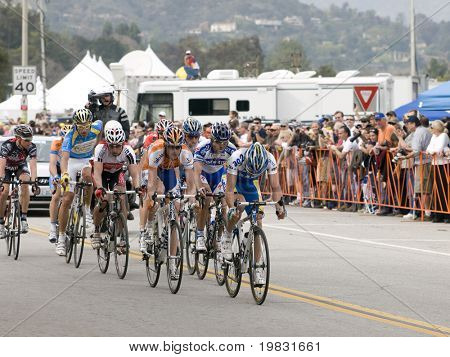 PASADENA, CA. - FEB 21: Small break away group ahead of the peloton during 5 lap circuit of the Rose Bowl during stage 7 of the Amgen Tour of California February 21st 2009.