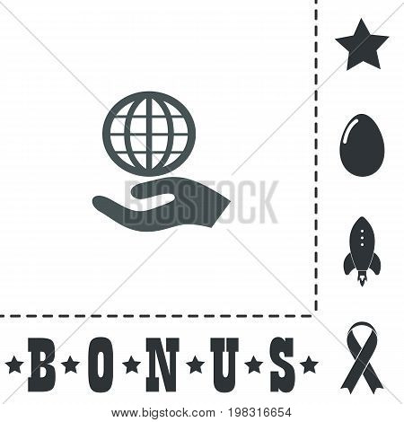 Globe with hand. Simple flat symbol icon on white background. Vector illustration pictogram and bonus icons
