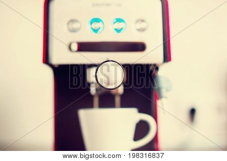 Close-up Coffee Pouring Machine Cooking Toned