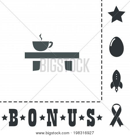 Cup on the table. Simple flat symbol icon on white background. Vector illustration pictogram and bonus icons