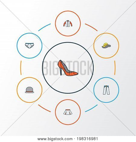 Garment Colorful Outline Icons Set. Collection Of Jacket, Skirt, Elegant Headgear And Other Elements