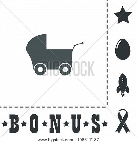 Buggy. Simple flat symbol icon on white background. Vector illustration pictogram and bonus icons