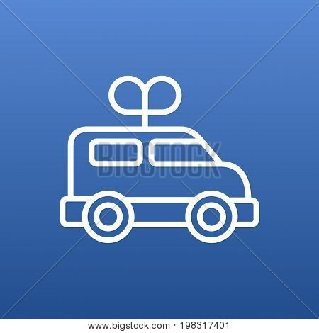 Vector Clockwork Car Element In Trendy Style.  Isolated Bus Outline Symbol On Clean Background.