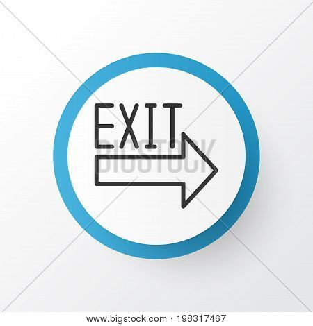 Premium Quality Isolated Doorway Element In Trendy Style.  Exit Sign Icon Symbol.