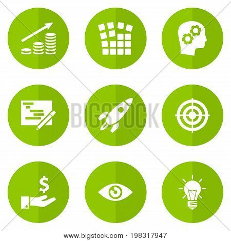 Collection Of Sponsor, Thinking Head, Startup Building And Other Elements.  Set Of 9 Strategy Icons Set.