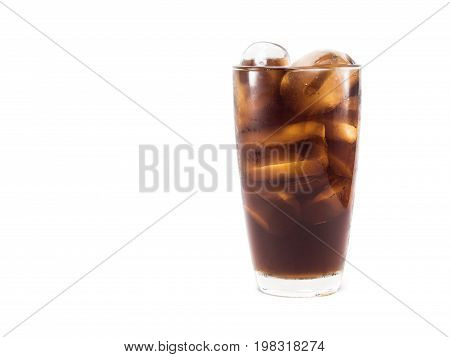 full soft drink is cool and ice cubes in glass on white background