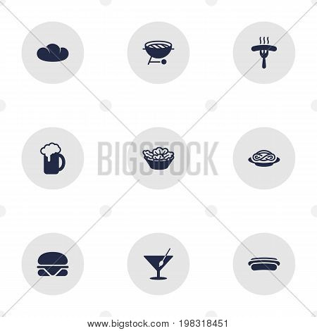 Collection Of Frankfurter, Lettuce, Ale And Other Elements.  Set Of 9 Eat Icons Set.