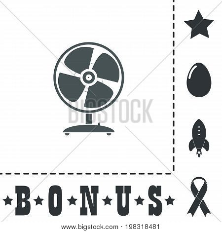 Table fan. Simple flat symbol icon on white background. Vector illustration pictogram and bonus icons