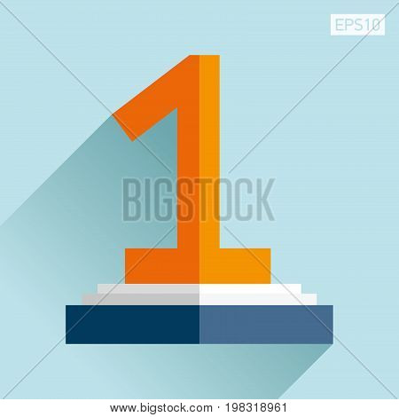 Prize-winning first place icon in flat style. One reward on the podium. Blue background. Business object. Vector design element for you project