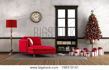 Waiting Christmas In Retro Room