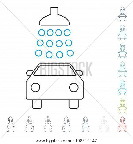 Car Wash line icon. Vector illustration style is a flat iconic line symbol in some color versions.