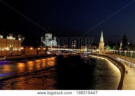 Famous and Beautiful Night View of Moscow river and Cathedral of Jesus Christ the Saviour, Moscow, Russia