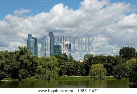 Glass towers of Business center Moscow City, panorama, view from park.