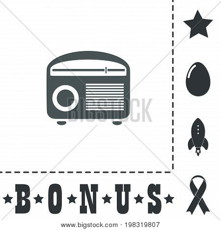 Retro revival radios tuner. Simple flat symbol icon on white background. Vector illustration pictogram and bonus icons