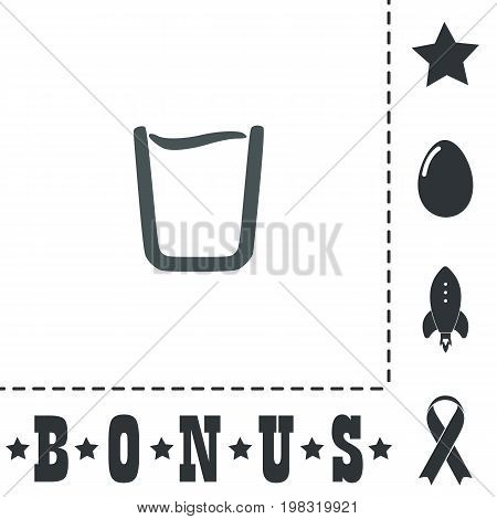 Glass of water. Simple flat symbol icon on white background. Vector illustration pictogram and bonus icons