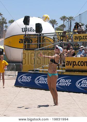 HUNTINGTON BEACH, CA. - MAY 23: Jen Kessy at the AVP Huntington Beach Open south of the pier on the weekend May 23, 2009 in Huntington Beach, California.