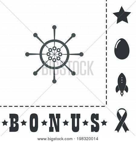 Yacht wheel. Helm silhouette. Simple flat symbol icon on white background. Vector illustration pictogram and bonus icons