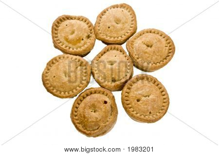 7 Mini Pork Pies On White