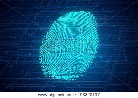 Abstract glowing digital finger print background. Biometrics concept. 3D Rendering