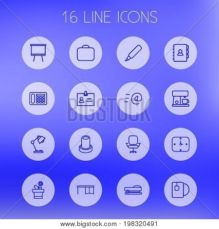 Collection Of Board Stand, Telephone, Desk Elements.  Set Of 16 Bureau Outline Icons Set.