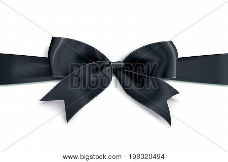 Realistic satin black bow knot on ribbon. Vector illustration icon isolated on white.