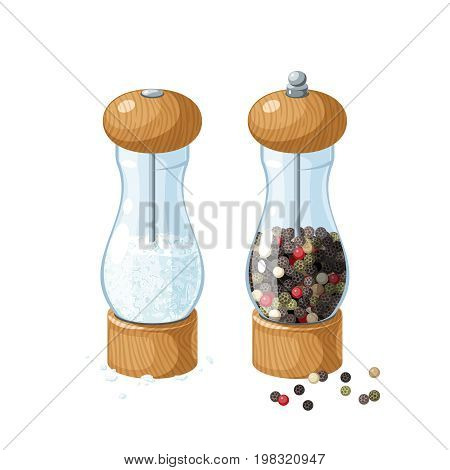 Pair transparent glass mill with wooden bottom and cap filled with pepper corns filled with salt and pepper peas. Vector illustration cartoon flat icon isolated on white.