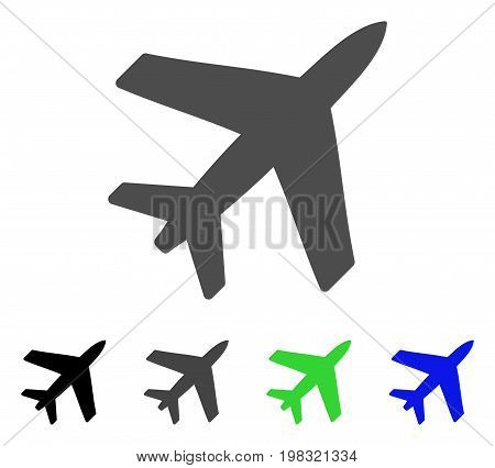 Airplane flat vector illustration. Colored airplane, gray, black, blue, green pictogram versions. Flat icon style for application design.