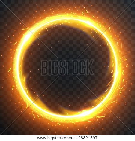 Realistic round light fire flame frame vector template illustration on transparent background