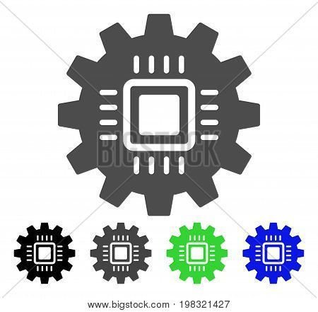 Chip Development Gear flat vector icon. Colored chip development gear, gray, black, blue, green pictogram variants. Flat icon style for web design.