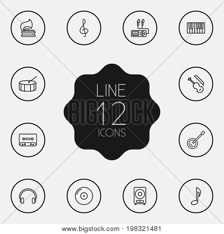 Collection Of Musical Sign, Percussion, Turntable And Other Elements.  Set Of 12 Melody Outline Icons Set.